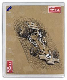 Jochen Rindt on his way to winning the 1970 Dutch Grand Prix in the Lotus 72.  This package is on it's way overseas ... bon voyage!  Sharpie and white acrylic markers on 62.5cm X 52cm corrugated cardboard. © Paul Chenard 2017