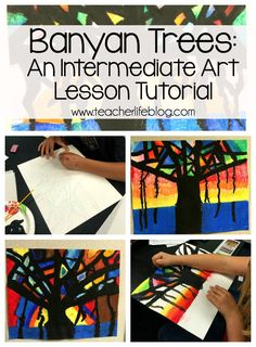 Banyan Tree Tutorial: A fun art lesson that teaches kids about blending, and Banyan Trees! Perfect for Upper Elementary and above!
