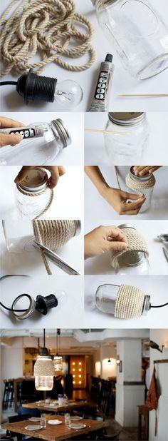 """Lámpara DIY con tarro y cuerda - <a href=""""http://apairandasparediy.com"""" rel=""""nofollow"""" target=""""_blank"""">apairandasparediy...</a> - DIY Rope Mason Jar"""
