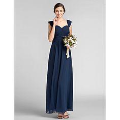 Floor-length Chiffon Bridesmaid Dress - Dark Navy Plus Sizes / Petite Sheath/Column Sweetheart – USD $ 91.99