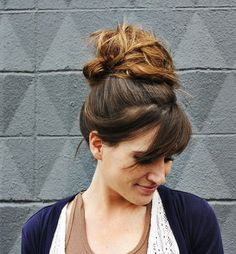 Most Beautiful High Bun With Side Swept Bangs 2015