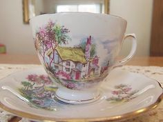 Vintage Royal Vale England Tea Cup & Saucer Bone China Cottage Scene