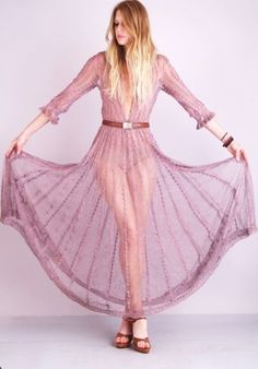 Awesome Ebay finds: 70s Plum crochet sheer Lace Cutout Maxi dress