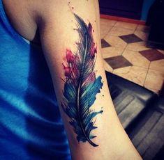 Znalezione obrazy dla zapytania watercolor feather tattoo