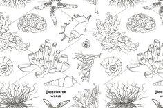 Pattern of underwater objects by Netkoff on @creativemarket