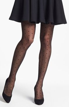 stocking stuff: pairs of cute black hose!  I love the way these look!  Nordstrom 'Sheer Dot' Pantyhose