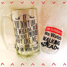 Walking Dead Beer Mug // Walking Dead Wine Glass // The Walking Dead by DrabtoFabMomma on Etsy