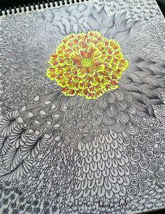 Neon flower, doodle patterns