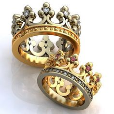 Crown Engagement Rings Wedding Promise By WorldOfGold
