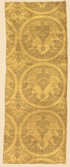 Cloth of Gold, Winged Lions and Griffins, c.1240-1260 silk, gold thread; lampas weave, Overall - h:124.00 w:48.80 cm (h:48 13/16 w:19 3/16 inches). Purchase from the J. H. Wade Fund 1989.50