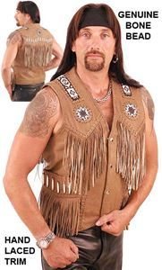 Western Brown Leather Vest with Indian Beading