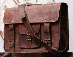 Large Men Leather Satchel Overlander Bag Porfolio Bag Leather Briefcase
