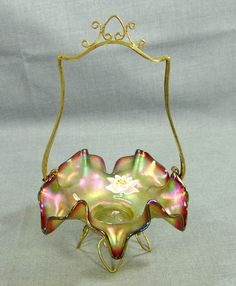 ANTIQUE BOHEMIAN LOETZ IRIDESCENT GLASS CANDY BRIDAL BASKET BOWL PAINTED FLOWERS