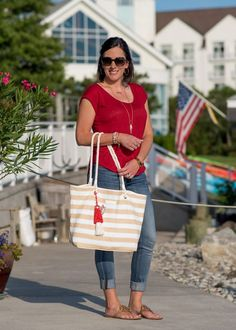 This casual 4th of July outfit for women over 40 is festive but tasteful. Shop your closet to adapt this easy patriotic outfit idea to suit your style.