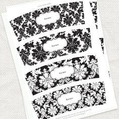 damask candle wraps - printable editable file - black and white votive wrap wedding decoration instant download