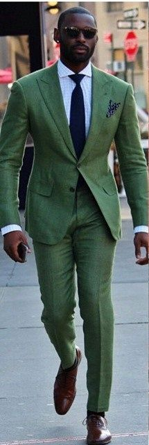 Green suit.Bold Choice