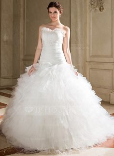 Wedding Dresses - $259.99 - Ball-Gown Sweetheart Chapel Train Tulle Wedding Dress With Ruffle Lace Beadwork Sequins (002012206) http://jjshouse.com/Ball-Gown-Sweetheart-Chapel-Train-Tulle-Wedding-Dress-With-Ruffle-Lace-Beadwork-Sequins-002012206-g12206
