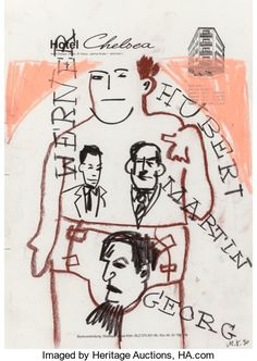 Fine Art - Work on Paper:Drawing, Martin Kippenberger (German, 1953-1997). Untitled (FourPortraits), 1990. Oil crayon and pastel on hotel stationery.11-...