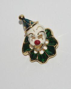 Small Mardi Gras PIN Gold Tone Clown Mask by MardiGrasShoppe