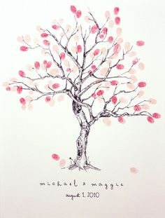 cherry blossom fingerprint tree guest book. I LOVE the colors.