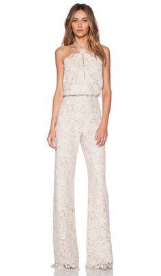 627832b5c6bb Alexis Amadora Lace Halter Jumpsuit in Fawn