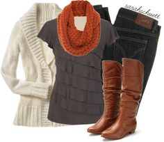 """Cozy for Fall - Gray and Rust"" by sarahschuett on Polyvore"