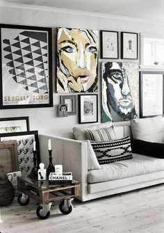 Design 101 | How to install a gallery wall. Ideas and Inspiration for residential interior designs. Features home tours from all over the world.