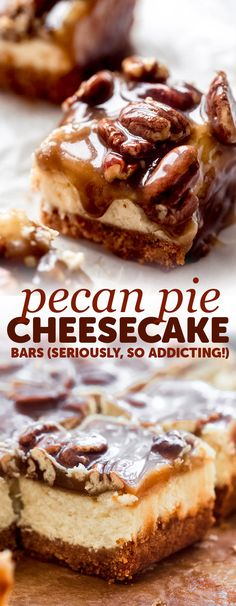Pecan Pie Cheesecake Bars – Learn how to make the best cheesecake bars topped with pecan pie topping! These bars are absolutely addicting! More from my sitePecan Pie Cheesecake Bars Recipe