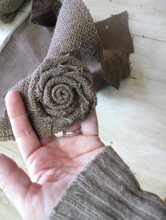 burlap wreaths, burlap flowers, fabric flowers, umbrella, rosett tutori, burlap rosettes, how to make burlap wreath, flower tutorial, burlap roses tutorial