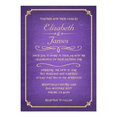 Purple and Gold Chalkboard Wedding Invitations Personalized Invites
