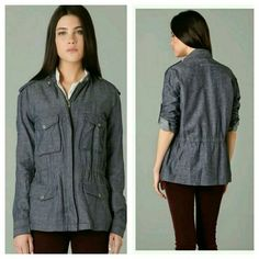 Rag & Bone M15 Chambray Jacket Top L Like new.worn once for a few hrs, laundered gentle cycle hung to dry.snap closures, adjustable sleeves, sz L I typically wear a medium & this was a little oversized IMO looks better worm slouchy .authentic..Not a heavy weight , kinda like a top.or light jacket. Lined. Imported measurements available upon request rag & bone Jackets & Coats Utility Jackets