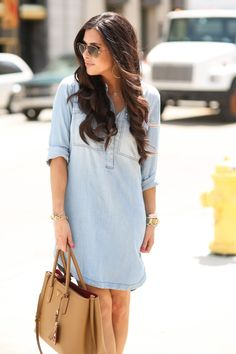 JULY 31, 2015 Chambray Shirt Dress - CHAMBRAY DRESS: J.Crew (similar styles HERE & HERE)   WEDGES: BP (part of Nsale)   BAG: Prada (similar style here)   BRACELETS: Rustic Cuff (part of Nsale), Love Always   WATCH: Michael Kors   NECKLACE: Intermix   EARRINGS: Gorjana (part of Nsale)   SUNGLASSES: Ray-Ban