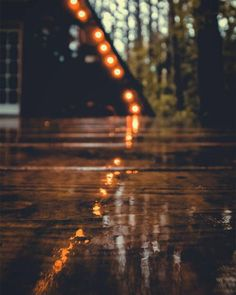 Cozy lights in a rainy day