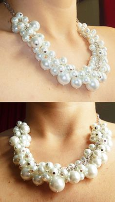 Cluster Pearl Necklace   Cluster of white glass pearls by Eienblue