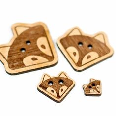 Woodsy Fox | Brickbubble — Fall in love with these cute woodsy fox buttons. This wiley design is original and has been engraved and laser cut within our home studio. Add one large one to a hat or cowl, or dress up some baby booties with the small version.