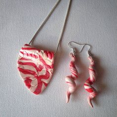 Polymer clay pendand and earrings