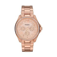 Fossil Cecile Multifunction Rose Dial Rose Gold-tone Stainless Steel... ($90) ❤ liked on Polyvore featuring jewelry, watches, dial watches, analog watches, stainless steel watches, rose jewelry y dress watch