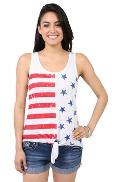 Deb Shops high low tank top with #stars and #stripes print and stud accents #flag