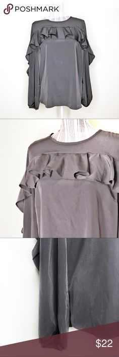 """Harlowe & Graham Ruffle Top Long Sleeve Blouse Harlowe & Graham Ruffle Top Long Sleeve Blouse  Beautiful green/gray blouse with a satin sheen. Ruffle detail with keyhole button back closure  Elastic cuff Rounded split hem Polyester  20"""" Bust 26"""" Length Harlowe & Graham Tops Blouses"""