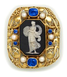 Art Nouveau Sapphire, Pearl, Wedgewood Cameo And Carved Gold Brooch - By Frank Gardner Hale.