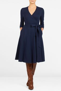 I <3 this V-neck cotton knit wrap dress from eShakti