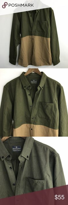 """United by Blue Colorblock Button Front Jacket Nice heavy jacket, Good for rain or snow keeps you warm while being stylish. Button up front with left breast pocket.    Size: M Color: Green/Tan Chest: 21"""" Length: 29"""" Fabric: 65% Polyester and 35% Wool United by Blue Jackets & Coats Utility Jackets"""