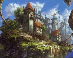 sun castle by tiemao on DeviantArt Fantasy Landscape, Landscape Art, Landscape Paintings, Fantasy Town, Fantasy World, Sci Fi Environment, Environment Design, Elf City, Modern Landscape Design