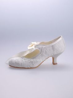 In search of kitten heels for the ceremony... Lovely Round Toes Kitten Heel Lace And Satin Wedding Bridal Shoes (EP1073) – Elegantpark.com
