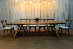We have a great range of furniture & accessories available to hire.  These rustic Vineyard Dining Tables look fabulous in our Sailcloth Tents & Stretch Marquees!