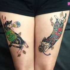 Fujin&Raijin Monmon Cats #fujin #raijin#godofthewind #horitomo #cattattoo #tattooedcat #monmoncat #monmoncats #japanesetattoo #japaneseart #風神#雷神