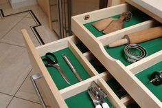 Compartmentalise your kitchen accessories and gadgets and you'll save so much time looking for them. Bespoke Kitchens, Bespoke Furniture, Kitchen Accessories, Gadgets, Detail, Room, Bedroom, Kitchen Fixtures, Rooms