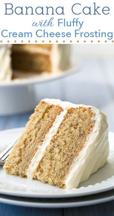 Banana Cake with Fluffy Cream Cheese Frosting - one of my favorite cakes! Always a hit! #recipe