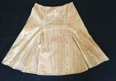 Isaac Mizrahi Target Skirt Sz 4 Yellow Wood Print Swing A line Pin up Beige #IsaacMizrahiforTarget #ALine