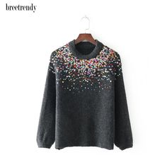 Cheap long sleeve pullover, Buy Quality pullover sweater women directly from China sweater short Suppliers: MY1842 New Arrival O Neck Multicolor Sequines Long Sleeve Pullover Sweater Women Chic Knitting Tops Sweaters Short Outer wear